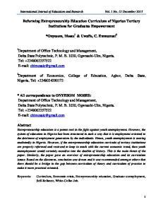 Reforming Entrepreneurship Education Curriculum of Nigerian Tertiary Institutions for Graduates Empowerment