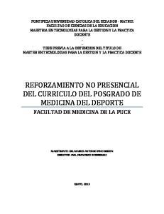 REFORZAMIENTO NO PRESENCIAL DEL CURRICULO DEL POSGRADO DE MEDICINA DEL DEPORTE