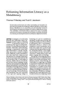 Reframing Information Literacy as a Metaliteracy