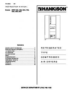 REFRIGERATED TYPE COMPRESSED AIR DRYERS SERVICE DEPARTMENT: (724) INSTRUCTION MANUAL. Contents