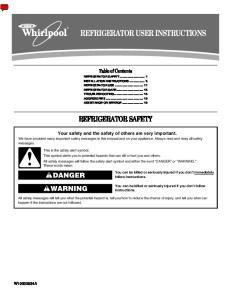 REFRIGERATOR USER INSTRUCTIONS