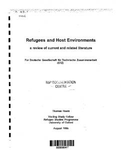 Refugees and Host Environments