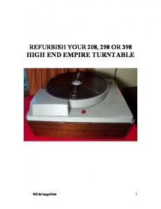 REFURBISH YOUR 208, 298 OR 398 HIGH END EMPIRE TURNTABLE