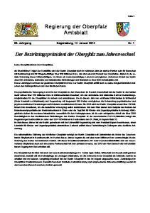 Regierung der Oberpfalz Amtsblatt. Der Bezirkstagspräsident der Oberpfalz zum Jahreswechsel