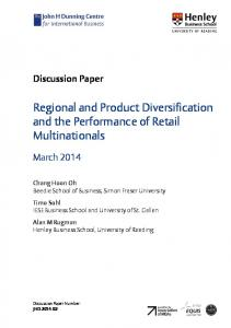 Regional and Product Diversification and the Performance of Retail Multinationals