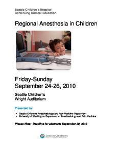Regional Anesthesia in Children