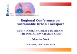 Regional Conference on Sustainable Urban Transport