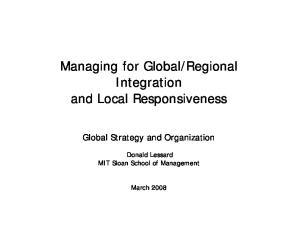 Regional Integration and Local Responsiveness