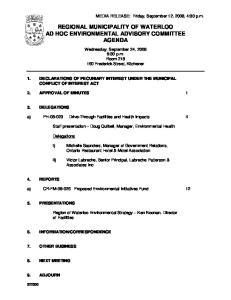 REGIONAL MUNICIPALITY OF WATERLOO AD HOC ENVIRONMENTAL ADVISORY COMMITTEE AGENDA