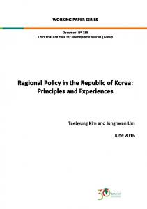 Regional Policy in the Republic of Korea: Principles and Experiences