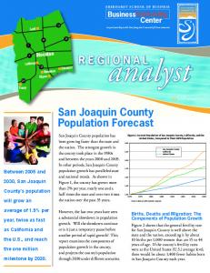 REGIONAL. San Joaquin County Population Forecast