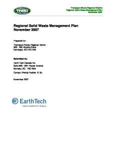 Regional Solid Waste Management Plan November 2007