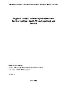 Regional study of children s participation in Southern Africa : South Africa, Swaziland and Zambia