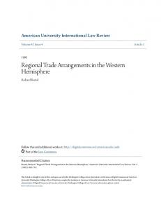 Regional Trade Arrangements in the Western Hemisphere