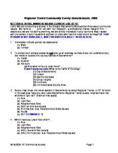 Regional Transit Community Survey Questionnaire, 2006