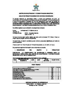 Regional Valle CENTRO DE ELECTRICIDAD Y ATUOMATIZACION INDUSTRIAL SOLICITUD PRECOTIZACIONES PARA ESTUDIO DE MERCADO