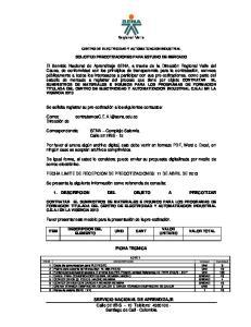 Regional Valle CENTRO DE ELECTRICIDAD Y AUTOMATIZACION INDUSTRIAL SOLICITUD PRECOTIZACIONES PARA ESTUDIO DE MERCADO