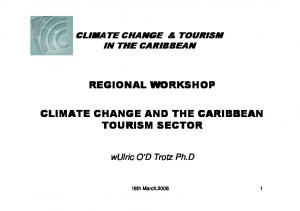 REGIONAL WORKSHOP CLIMATE CHANGE AND THE CARIBBEAN TOURISM SECTOR