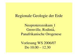 Regionale Geologie der Erde