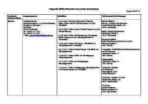 Regionale MRSA-Netzwerke des Landes Brandenburg Stand:
