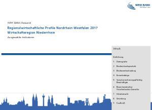 Regionalwirtschaftliche Profile Nordrhein-Westfalen 2017 Wirtschaftsregion Niederrhein