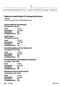 Register der beaufsichtigten Einrichtungen des Kantons Thurgau