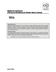 Registrant Agreement (Terms and Conditions for Domain Name Licence)