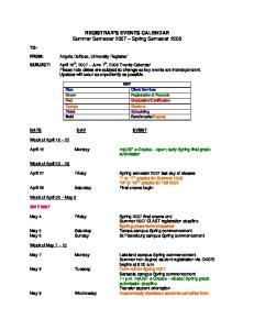 REGISTRAR S EVENTS CALENDAR Summer Semester 2007 Spring Semester 2008