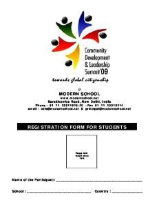 REGISTRATION FORM FOR STUDENTS
