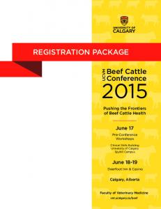 REGISTRATION PACKAGE. Beef Cattle. Conference. June 17. June Pushing the Frontiers of Beef Cattle Health UCVM