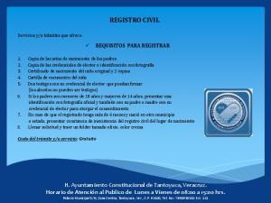 REGISTRO CIVIL REQUISITOS PARA REGISTRAR