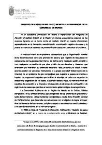 REGISTRO DE CASOS DE MALTRATO INFANTIL: LA EXPERIENCIA DE LA COMUNIDAD DE MURCIA