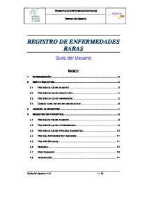 REGISTRO DE ENFERMEDADES RARAS