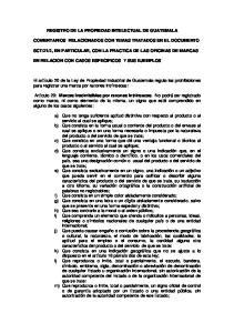 REGISTRO DE LA PROPIEDAD INTELECTUAL DE GUATEMALA COMENTARIOS RELACIONADOS CON TEMAS TRATADOS EN EL DOCUMENTO