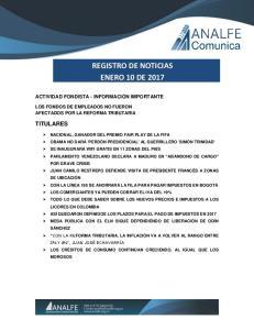 REGISTRO DE NOTICIAS ENERO 10 DE 2017