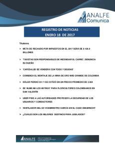 REGISTRO DE NOTICIAS ENERO 18 DE 2017