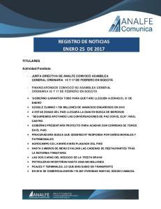 REGISTRO DE NOTICIAS ENERO 25 DE 2017