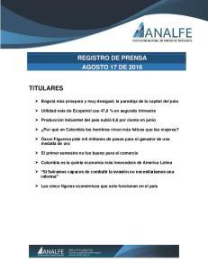 REGISTRO DE PRENSA AGOSTO 17 DE 2016