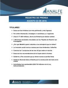 REGISTRO DE PRENSA AGOSTO 23 DE 2016