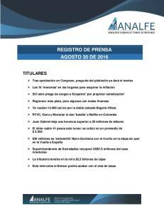 REGISTRO DE PRENSA AGOSTO 30 DE 2016