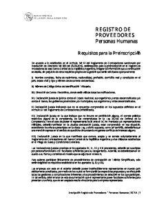 REGISTRO DE PROVEEDORES Personas Humanas