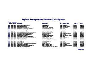 Registro Transportistas Residuos No Peligrosos