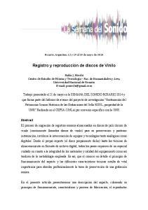 Registro y reproducción de discos de Vinilo