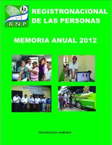 REGISTRONACIONAL DE LAS PERSONAS MEMORIA ANUAL TEGUCIGUGALPA, honduras