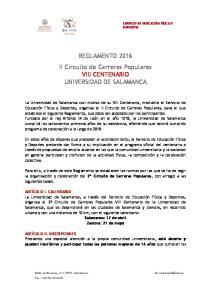 REGLAMENTO 2016 II Circuito de Carreras Populares VIII CENTENARIO UNIVERSIDAD DE SALAMANCA