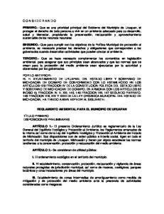 REGLAMENTO AMBIENTAL PARA EL MUNICIPIO DE URUAPAN