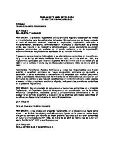 REGLAMENTO AMBIENTAL PARA EL SECTOR HIDROCARBUROS