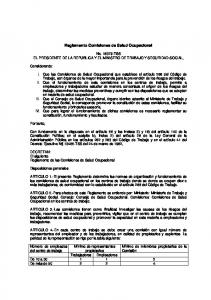 Reglamento Comisiones de Salud Ocupacional