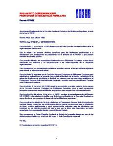REGLAMENTO COMISON NACIONAL PROTECTORA DE BIBLIOTECAS POPULARES