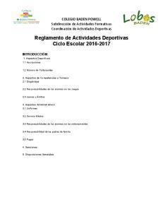 Reglamento de Actividades Deportivas Ciclo Escolar